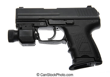 Semi-Automatic Pistol With Tactical Night Light