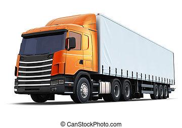semi-camion, blanc, isolé, fond
