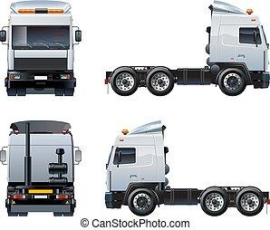 semi-camion, blanc, vecteur, isolé, gabarit