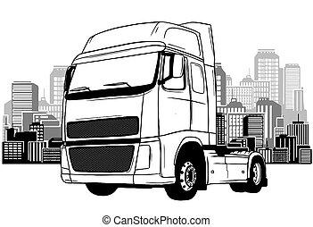 semi-camion, route, fond, ville
