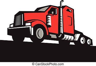 semi camion, trattore, angolo basso, retro