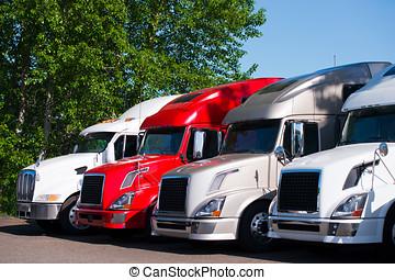 semi, Camiones, modelos, parada, camión, terreno, estacionamiento, fila