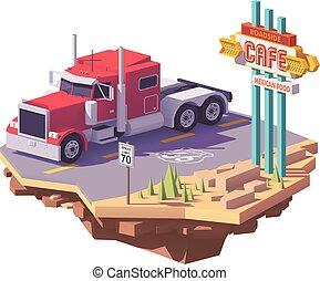 semi, classique, poly, américain, vecteur, camion, bas