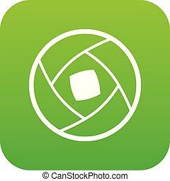 Semi-closed lens icon digital green