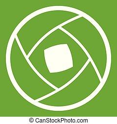 Semi-closed lens icon green