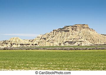 semi-desert, paysage, dans, bardenas, reales