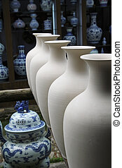 semi-finished porcelain in chinese jingdezhen workshop