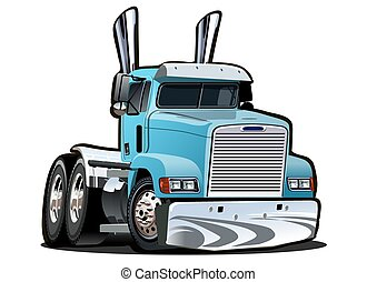 semi, fond, camion, dessin animé, blanc, isolé