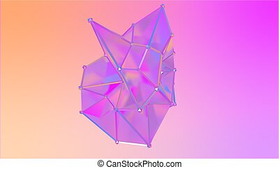semi, forme, illustration, polygonal, rendre, multicolore, métamorphose, model., transparent, blot., 3d