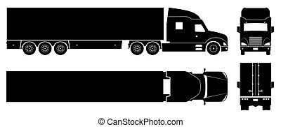 semi, icônes, illustration, vecteur, camion, noir, caravane