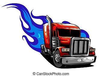 semi, illustratie, vector, ontwerp, truck., spotprent