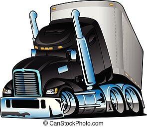 semi, illustratie, vector, vrachtwagen, spotprent, schamelaanhanger