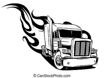 semi, illustrazione, vettore, disegno, truck., cartone animato