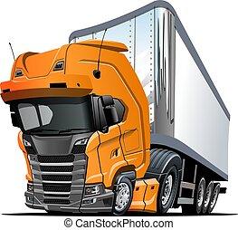 semi, isolé, camion, fond, blanc, dessin animé