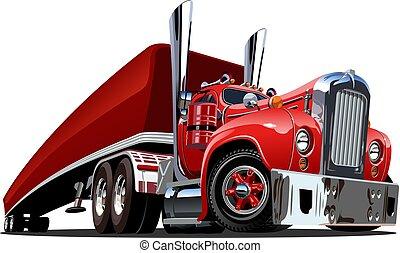 semi, isolé, camion, retro, blanc, dessin animé