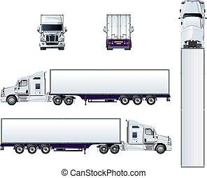 semi, isolé, vecteur, camion, gabarit, blanc