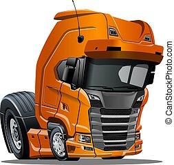 semi, isolado, caminhão, fundo, branca, caricatura