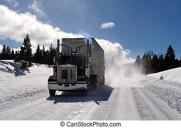 semi-reboque, dobra, ligado, gelado, estrada