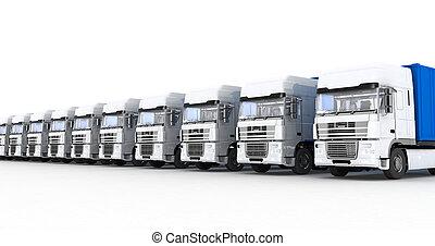 semi-remorque, blanc, camions