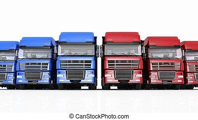 semi-remorque, fond blanc, isolé, camions