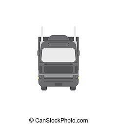 semi-remorque, isolé, arrière-plan., camion, devant, vue., blanc