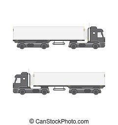 semi-remorque, isolé, côté, arrière-plan., camion, blanc, vue., frais