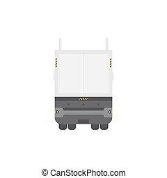 semi-remorque, isolé, dos, arrière-plan., camion, vue., blanc, frais