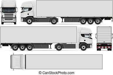 semi-remorque, vecteur, camion, illustration
