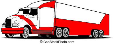 semi-roulotte, camion