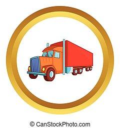 semi roulotte, camion, vettore, icona