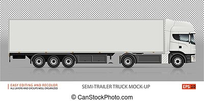 semi-roulotte, ve?tor, camion, mockup