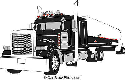 Semi Tanker Vector - vector drawing of semi tanker truck, ...