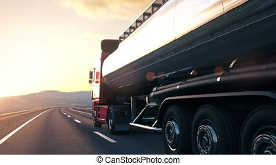 semi-trailer tank truck driving along a desert road into the sunset