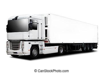 Semi Trailer Truck - A Big Semi trailer Truck Isolated on...