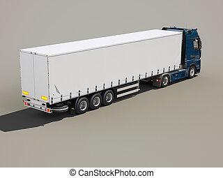 Semi-trailer truck - A modern semi-trailer truck on gray...