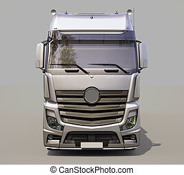 Semi-trailer truck - A modern semi-trailer truck on gray...