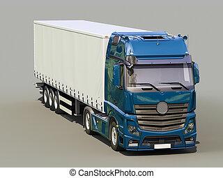 Semi-trailer truck - A modern semi-trailer truck on gray ...