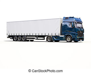 A modern semi-trailer truck on light background