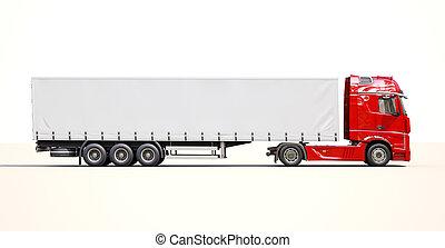 Semi-trailer truck - A modern semi-trailer truck on light...