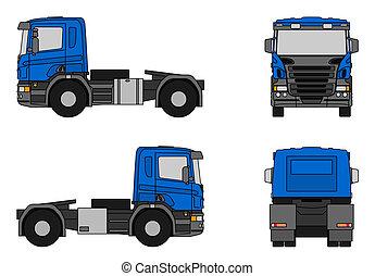 Semi-trailer truck - Illustration of a blue semi-trailer...