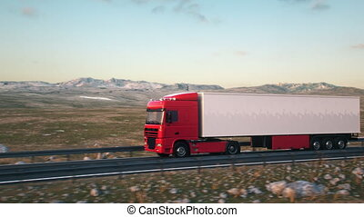 semi-trailer truck driving along a desert road - A semi...