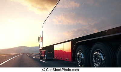 The camera follows a semi truck driving along a desert highway into the sunset. Low angle rear view camera. Realistic high quality 3d animation.