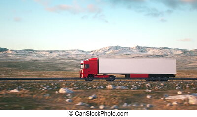 semi-trailer truck driving along a desert road - Side-view...