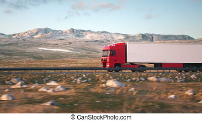 semi-trailer truck driving along a desert road