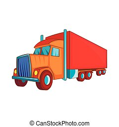 Semi trailer truck icon, cartoon style