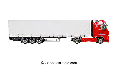 Semi-trailer truck isolated - A modern semi-trailer truck...