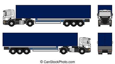 Semi-trailer truck - White semi-trailer truck