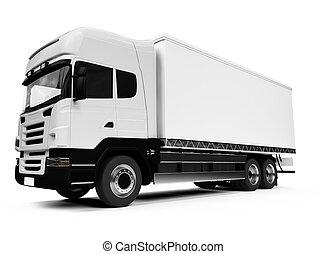 semi transportera, över, vit