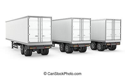 semi, trois, caravanes, garé, vide, blanc