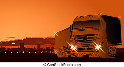semi-truck at sunset